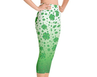 1d277f91d3 Waist High Yoga Capri Leggings for Women, Shamrock Clover Irish St.  Patrick's Day, Custom Print Handmade