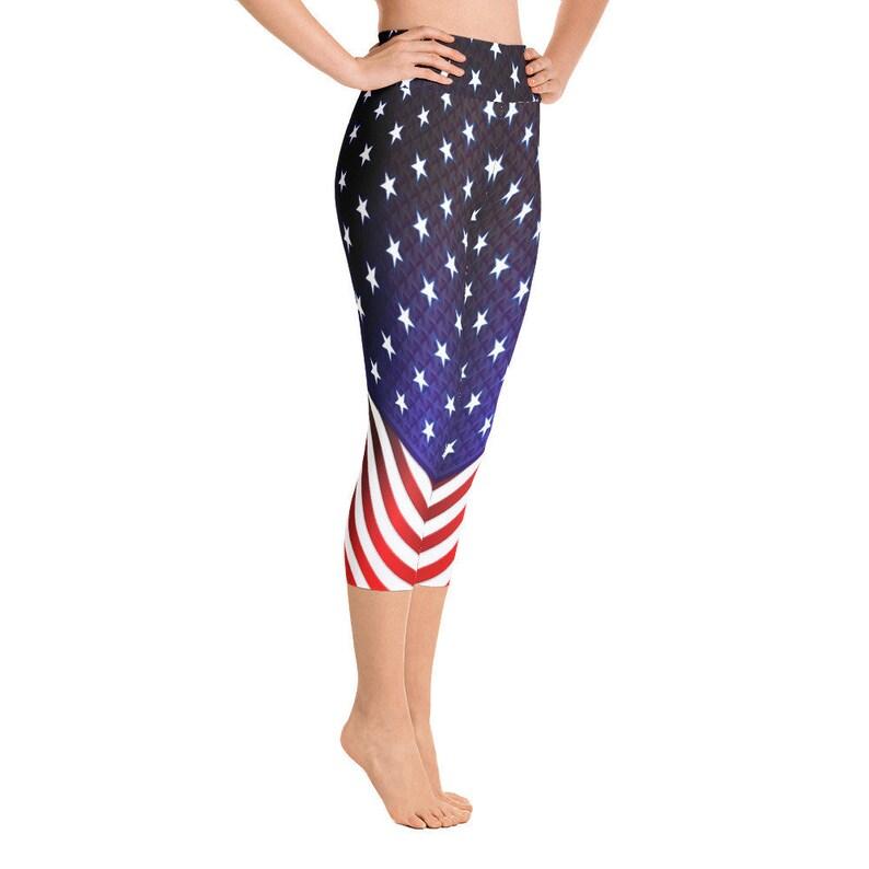 4th of July Leggings Custom Print Handmade Yoga Capri Leggings for Women USA Flag