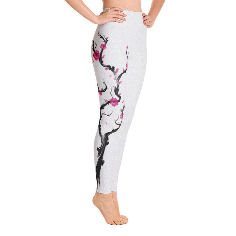 8ad2f231f7746 Wait High Yoga Leggings for Women Cherry Blossom Flower Kanji | Etsy