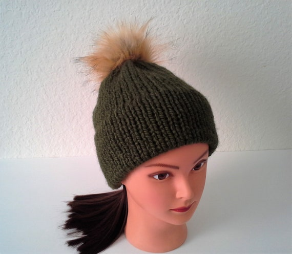 Women S Knit Hat Double Brim Hat Chunky Forest Green Womens Winter Hat Chunky Double Brim Knit Hat With Faux Fur Pompom