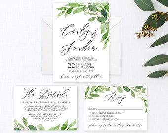 Printable Wedding Invitation Editable Greenery Wedding Invitations Modern Wedding Template Invitation Printable Invitation Set TEMPLETT Anna