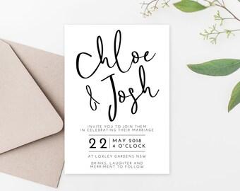 Wedding Invitation Printable Wedding Invitation Minimal Invitation Template Modern Wedding Invitations Editable PDF Download Templett Cleo