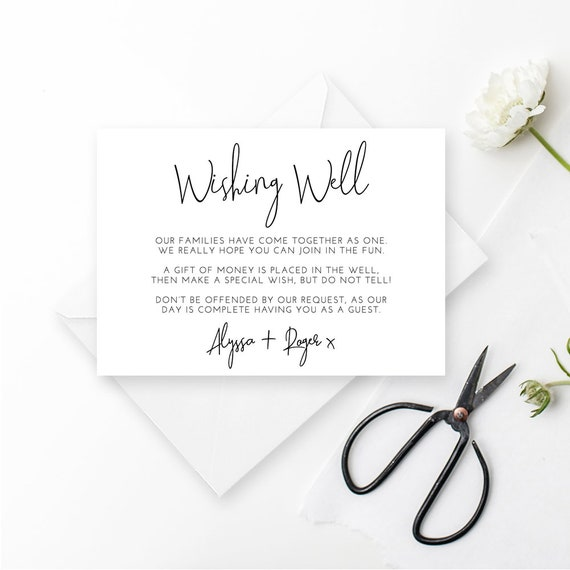 Printable Wedding Invitation Wishing Well Card Invitation Etsy
