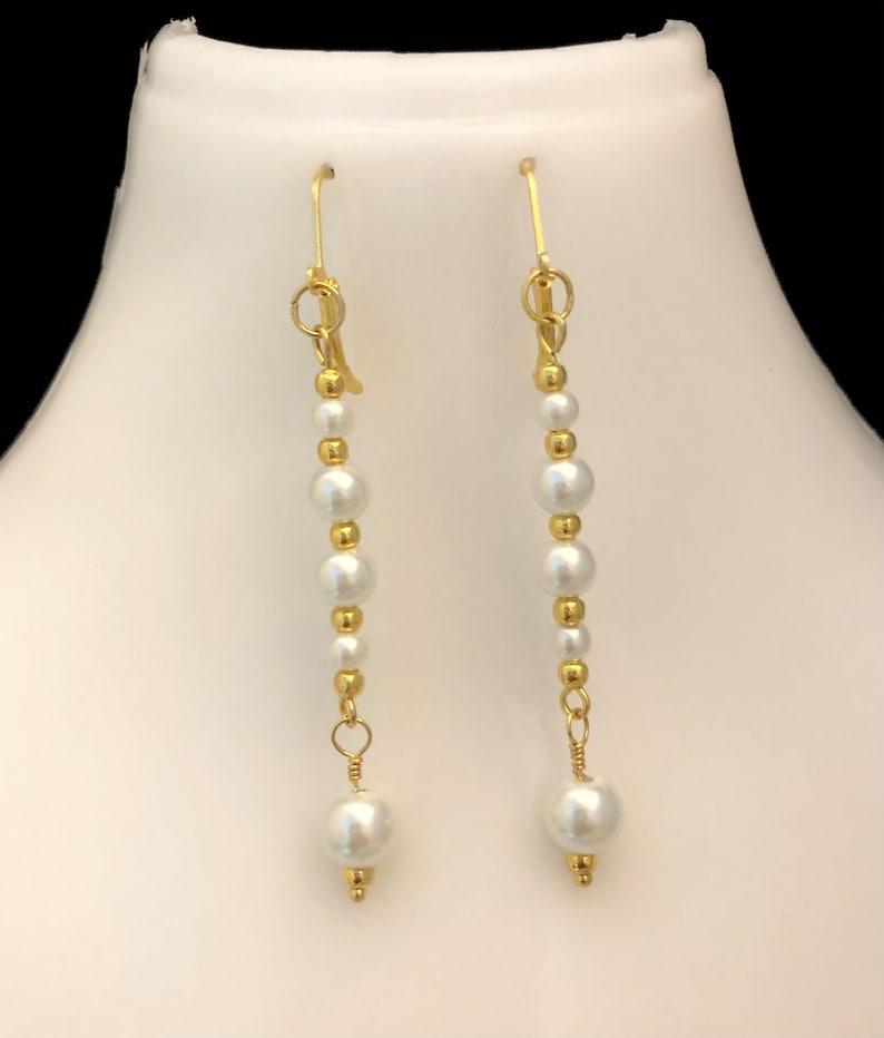 Five Pearl Earrings Pearl and Gold Earrings Multi-White Pearl and Gold Beaded Earrings Bride/'s Pearl Earrings