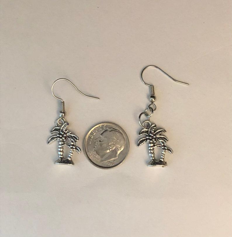Silver Palm Tree Dangling Earrings Small Silver Earrings Coconut Palm Tree Earrings