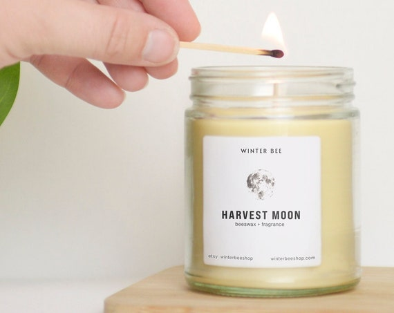 Harvest Moon Scented Beeswax + Coconut Oil Candles, Fall Scent
