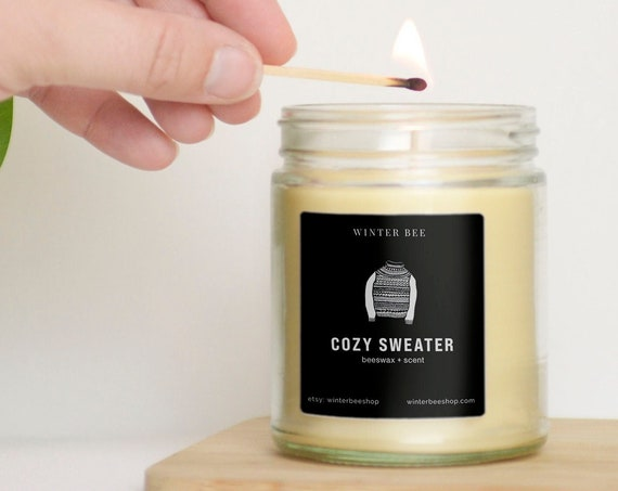Cozy Sweater Scented Beeswax and Coconut Oil Candle, Fall Scent