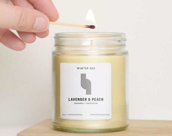 Lavender & Peach Scented Beeswax + Coconut Oil Candles