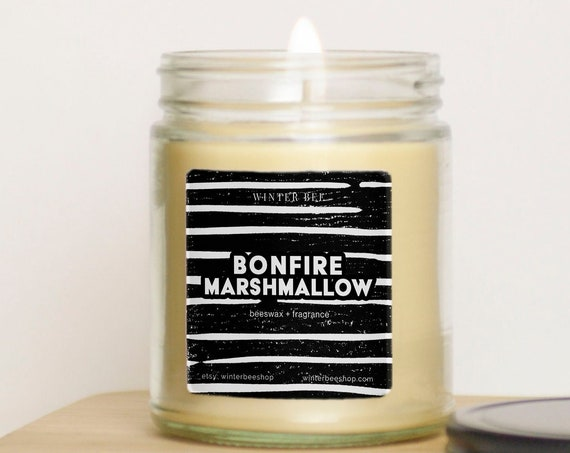 Bonfire Marshmallow Scented Beeswax and Coconut Oil Candle