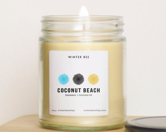 Coconut Beach Scented Beeswax + Coconut Oil Candles
