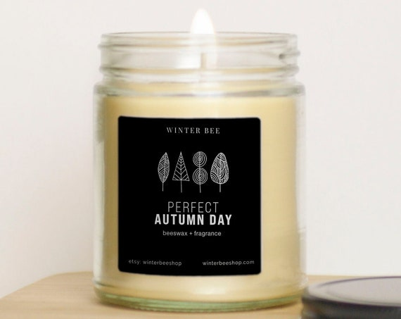 Perfect Autumn Day Scented Beeswax and Coconut Oil Candle, Fall Scent