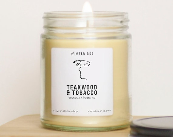 Teakwood and Tobacco Scented Beeswax + Coconut Oil Candles, Fall Scent