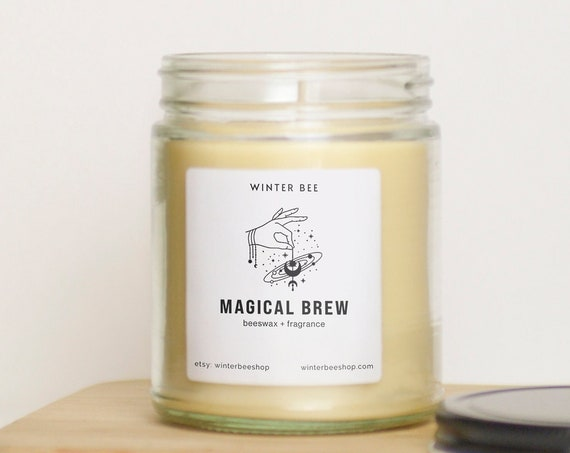 Magical Brew Scented Beeswax + Coconut Oil Candles, Fall Scent