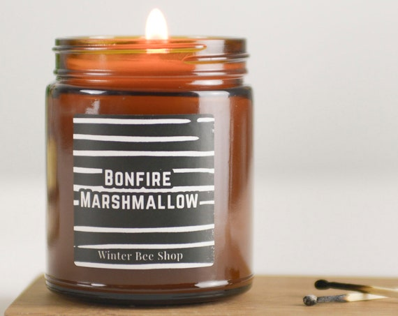Bonfire Marshmallow Scented Beeswax Candles in Amber Glass