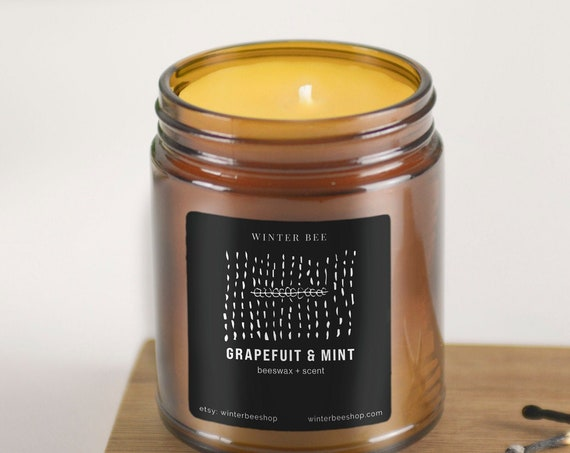 Grapefruit & Mint Scented Beeswax Candles in Amber Glass