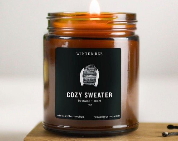 Cozy Sweater Scented Beeswax Candles in Amber Glass, Fall Scent