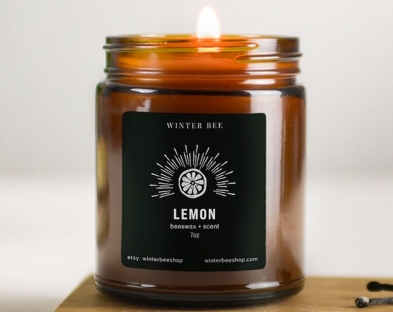 Lemon Scented Beeswax Candles in Amber Glass