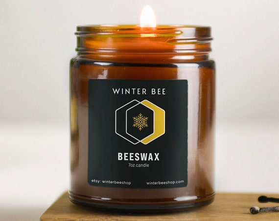 Pure Beeswax Candles in Amber Glass Jars