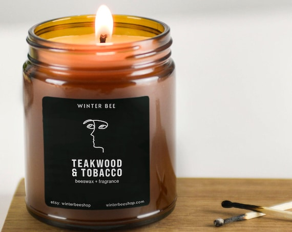 Teakwood and Tobacco Scented Beeswax Candles in Amber Glass, Fall Scent