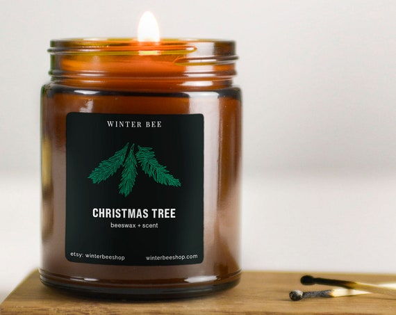 Christmas Tree Scented Beeswax Candles in Amber Glass