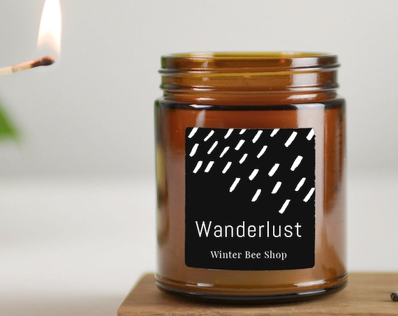 Wanderlust Scented Beeswax Candles in Amber Glass