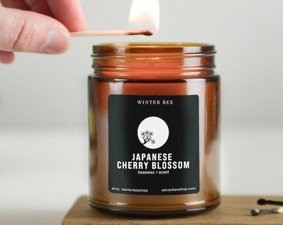 Japanese Cherry Blossom Scented Beeswax Candles in Amber Glass