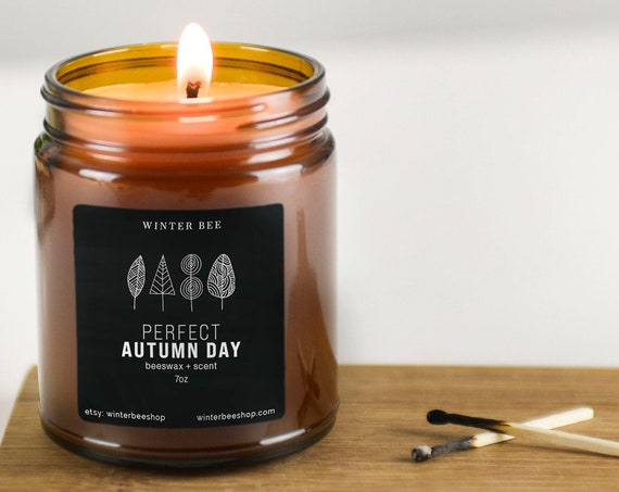 Perfect Autumn Day Scented Beeswax Candles in Amber Glass, Fall Scent