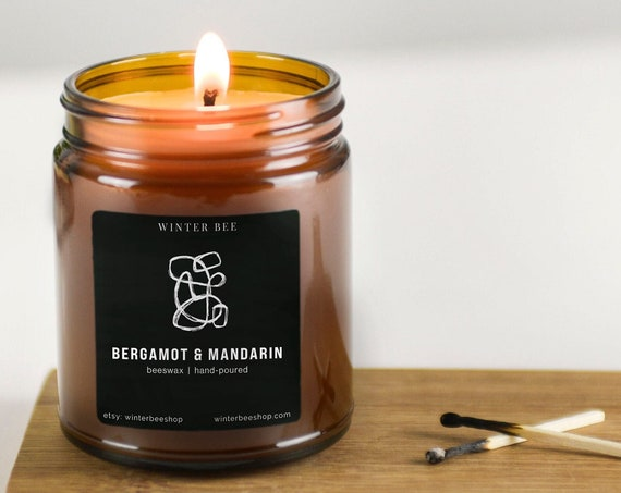 Bergamot & Mandarin Scented Beeswax Candles in Amber Glass