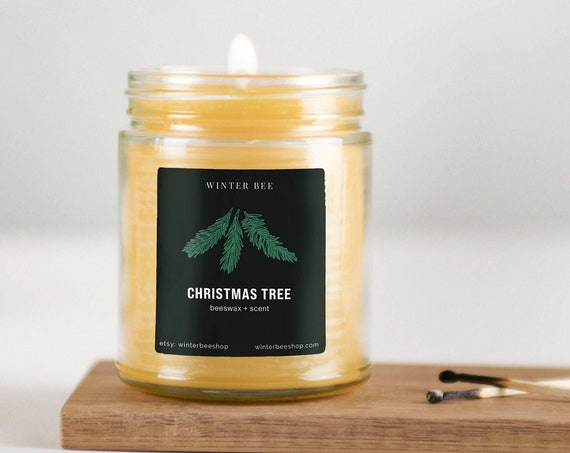 Christmas Tree Scented Beeswax and Coconut Oil Candles