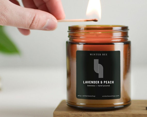 Lavender & Peach Scented Beeswax Candles in Amber Glass Jars
