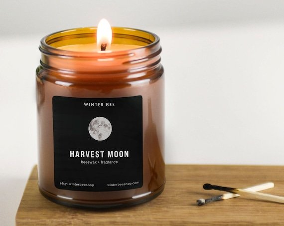 Harvest Moon Scented Beeswax Candles in Amber Glass, Fall Scent