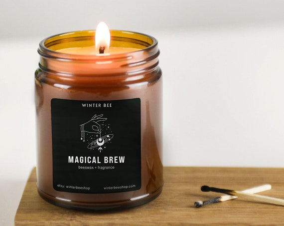 Magical Brew Scented Beeswax Candles in Amber Glass, Fall Scent