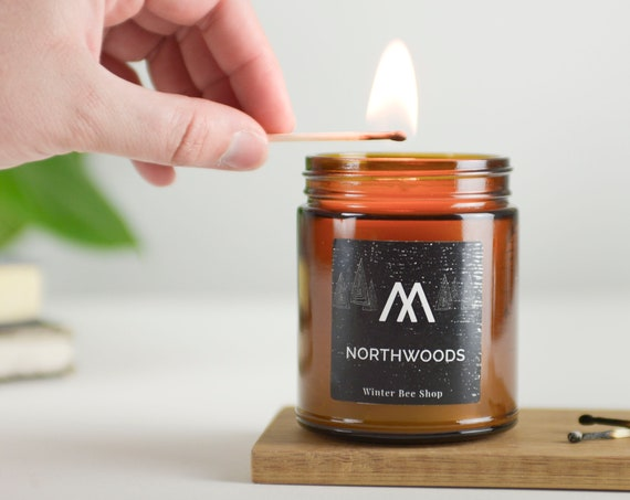Northwoods Scented Beeswax Candles in Amber Jars