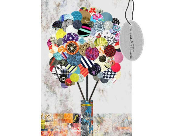 Space Clearing Flowers, Abstract Digital Art Collage INSTANT DOWNLOAD