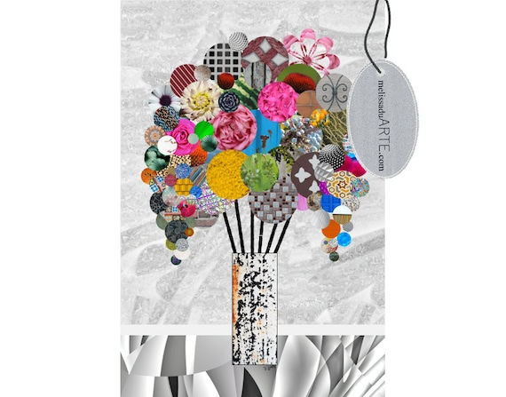 Good Morning Flowers, Abstract  Digital Art Collage  INSTANT DOWNLOAD