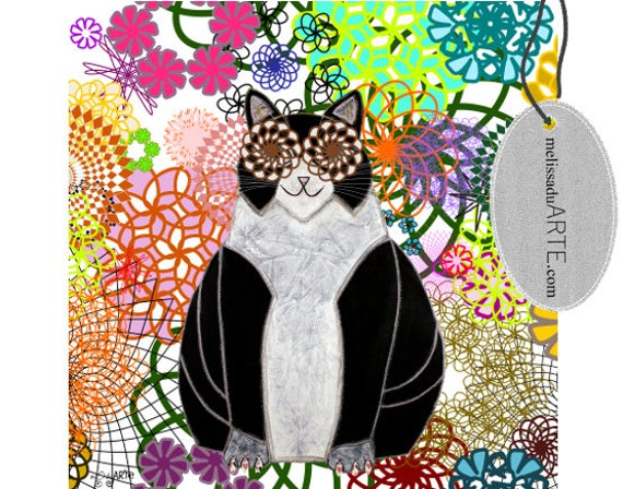 Lala Cat, Printable Illustration  Digital Art INSTANT DOWNLOAD