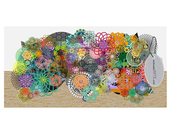 Kristina Mandalas,Big Abstract Illustration Digital Art INSTANT DOWNLOAD, SIZE 200x100cm.