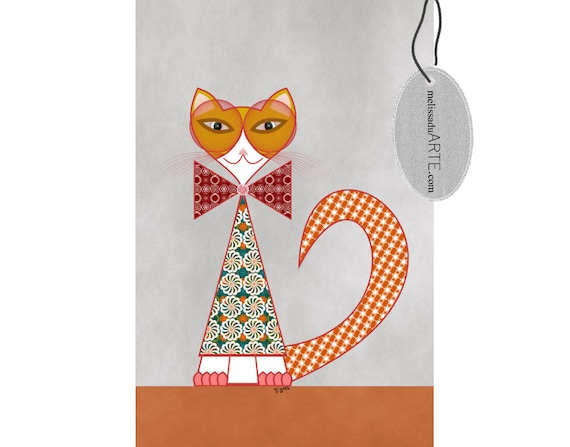 Christmas Cat, Printable  Illustration,  Digital Art INSTANT DOWNLOAD