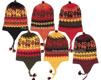 a7a84fd7b Alpaca winter hats earflaps Andean alpaca winter hats unisex, Peruvian  chullo hats, Winter hats soft and warm alpaca wool winter hats