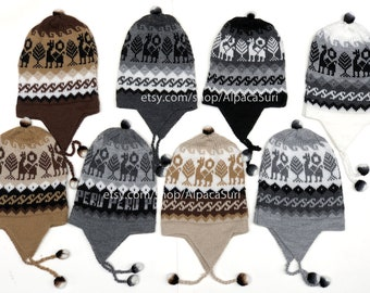 2abb7fd2344 Alpaca winter hats earflaps Andean alpaca winter hats unisex