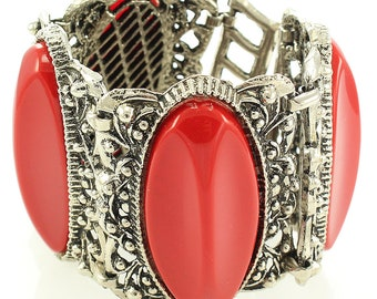 """Chunky Vintage Link Bracelet Silvertone with Red Plastic """"Sets"""" 2 1/8"""" Wide circa 1950"""