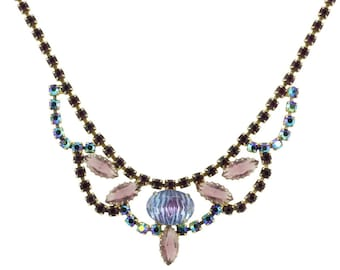 Iridescent Purple Art Glass Crystal Rhinestone Choker Bib Necklace 1950s - Vintage Costume Jewelry