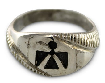 Silver Thunderbird Ring - Southwestern Sterling Signet Style Hand Cast Unisex Ring Size 7.5 - Vintage New Old Stock Trading Post Jewelry