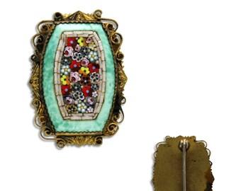 Art Deco Flower Mosaic Brooch - Vintage Italian Rose Blossom Floral Bouquet Micro Mosaic Peking Glass Brass Pin - Vintage Jewelry
