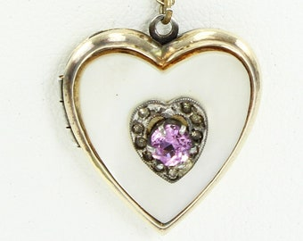 Vintage Locket Mother of Pearl & Purple Crystal Heart Pendant Necklace - Gold Filled on Sterling Silver Locket - Sentimental Jewelry