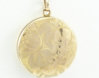 Antique Locket Necklace Floral Engraved 10K Gold Filled Beautiful Monogram - Monogrammed Vintage Jewelry - Sentimental Romantic Gift