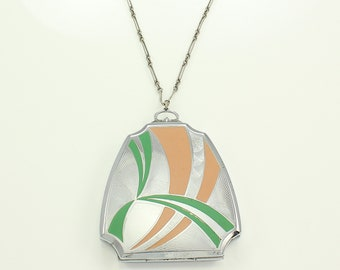 Art Deco EAM Elgin American Compact Silvertone  with Green and Salmon Enamel Pendant Vanity Makeup Necessaire with Wrist Chain