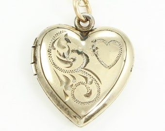 Engraved Heart Locket - Vintage Gold-Filled Pendant Necklace - Sweetheart Jewelry - Romantic Gift