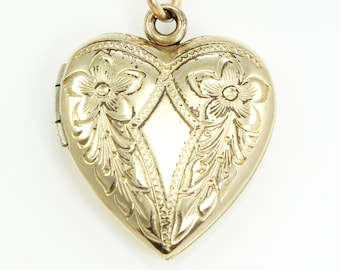 Vintage Double Blossom 12K Gold-Filled Heart Locket Pendant Necklace - Sentimental Estate Jewelry - Romantic Lockets