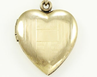 Heart Locket Pendant Necklace 12K Gold Filled Sterling Vintage circa 1940 - Sentimental Sweetheart Jewelry - WWII Estate Jewelry